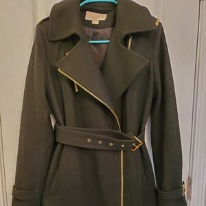 Michael Kors pea coat black with gold hardware